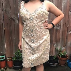 Terani couture beaded cocktail dress